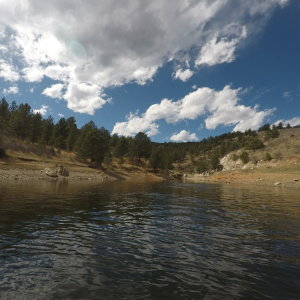 Belly boating Pinewood Reservoir, Larimer County, Colorado: March 2017